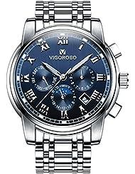 VIGOROSO Mens Business Quartz Analog Date Waterproof Luxury Stainless Steel Wrist Watch(Blue)