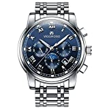 VIGOROSO Men's Business Quartz Analog Date Waterproof Luxury Stainless Steel Wrist Watch(Blue)