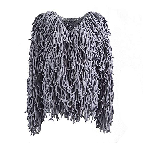 Winter Outerwear Outwear Loose Long Casual Open Fringed Cardigan Neck Sleeve Girls MIRRAY Autumn Large Grey Warm Front Coats Size Solid Knitted Overcoat O Womens IcaqwCz