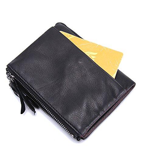 Pelle Tasca Black Bifold A In Con Zip Contatti Vera Portamonete Da Uomo Doppia nRwxIzXpI