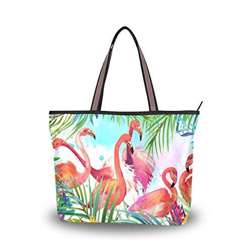 JSTEL Women Large Tote Top Handle Shoulder Bags Tropical Leaf Flamingo Patern Ladies Handbag L]()