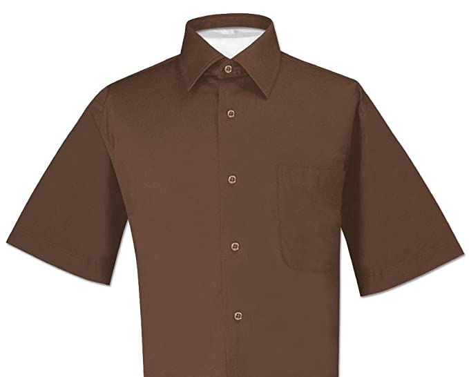 1bbf9f03d3ef Biagio 100% Cotton Men s Short Sleeve Solid Chocolate Brown Dress Shirt  Size S
