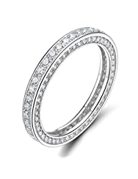 3MM 925 Sterling Silver Rings Cubic Zirconia Eternity Engagement Wedding Band Size 4-10
