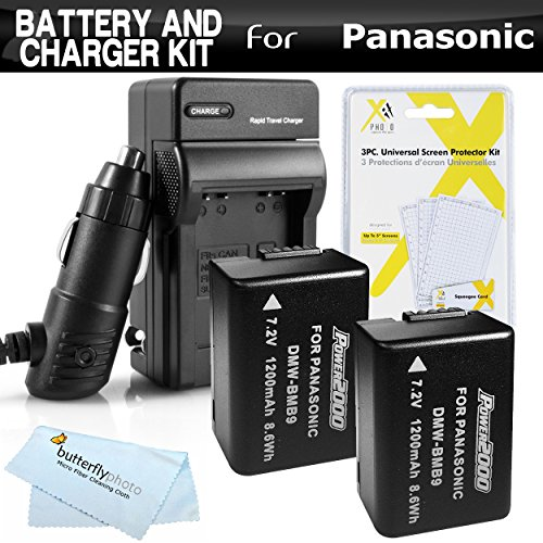 2 Pack Battery And Charger Kit For Panasonic Lumix DMC-FZ70, DMC-FZ70K, DMC-FZ60 DMC-FZ100 DMC-FZ40 DMC-FZ47 DMC-FZ150 Digital Camera Includes 2 Extended Replacement DMW-BMB9 Rechargeable Lithium-Ion Battery (1200Mah) (with Info-Chip!) + Charger + More -