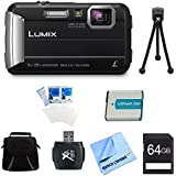 Panasonic LUMIX DMC-TS30 Active Tough Black Digital Camera 64GB Bundle - Includes Camera, 64GB Card, Compact Bag, Battery, Card Reader, Mini Tripod, Screen Protectors, and Micro Fiber Cloth