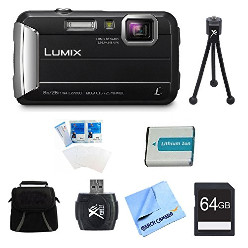 (Panasonic LUMIX DMC-TS30 Active Tough Black Digital Camera 64GB Bundle - Includes Camera, 64GB Card, Compact Bag, Battery, Card Reader, Mini Tripod, Screen Protectors, and Micro Fiber Cloth)