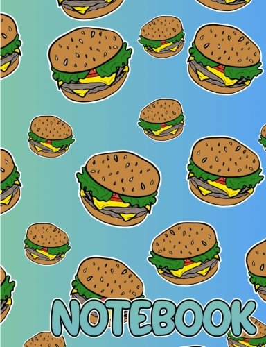 Notebook: Cheeseburger Journal for Teens and Kids, College Ruled Notebook, Funny Cartoon Burgers Composition Notebook
