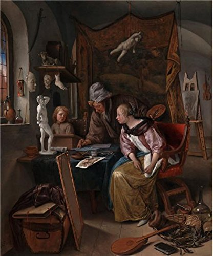 Oil Painting 'The Drawing Lesson, 1665 By Jan Steen', 18 x 22 inch / 46 x 55 cm , on High Definition HD canvas prints is for Gifts And Bar, - Roots Canada Sunglasses