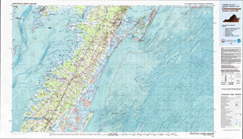 YellowMaps Chincoteague VA topo map, 1:100000 Scale, 30 X 60 Minute, Historical, 1981, Updated 1982, 24.1 x 41.9 in - Paper -
