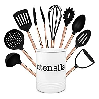 Cook With Color 10 Piece Nylon Cooking Utensil Set with Holder, Kitchen Tools and Gadgets with Rounded Copper Handles - Black