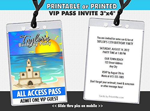 Sandcastle Beach Party Birthday VIP Pass Invitation, Printable or Printed Option