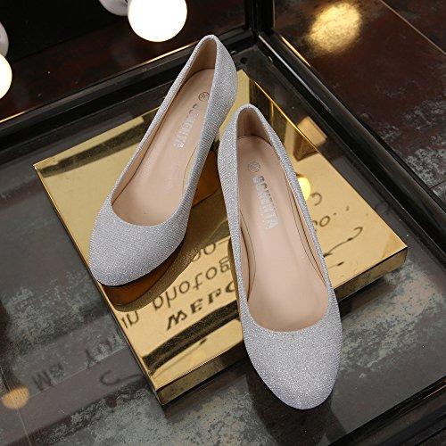 OCHENTA Women's Round Toe Kitten Heel Dress Work Party Pumps Silver-Glitter Lt03DFBA2v