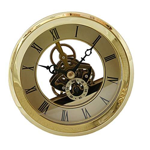 CUTICATE Skeleton Insert Clock Movement Quartz Battery Fit Up 91mm Golden Roman Dial