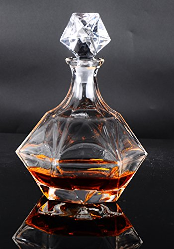 Lead Crystal Ships Decanter - HUAPPO Crystal Lead Free Wine Decanter Liquor Bottle with Stopper for Home Kitchen Bar Drinking Whiskey Vodka 850ml