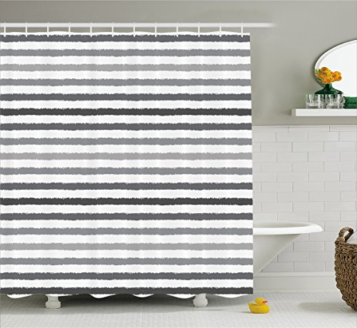 Ambesonne Striped Shower Curtain Set, Gray and White Stripes Monochrome Tones Brush Style Lines Grunge Retro Digital Printed, Fabric Bathroom Decor with Hooks, 75 Inches Long, White Grey