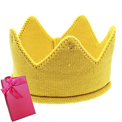 Elesa Miracle Baby Boy Girl Crown Hat Baby Boy Birthday Hat Toddler Knit Crochet Warm Beanie Cap (Yellow)