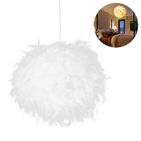 Amazon.com: LEDMOMO White Feather Ceiling Pendant Light ...