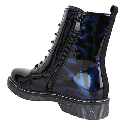 e66555d9fd77 Stiefelparadies Damen Worker Boots Gefütterte Stiefeletten Leder-Optik  Schuhe Flandell Blau Lack ...