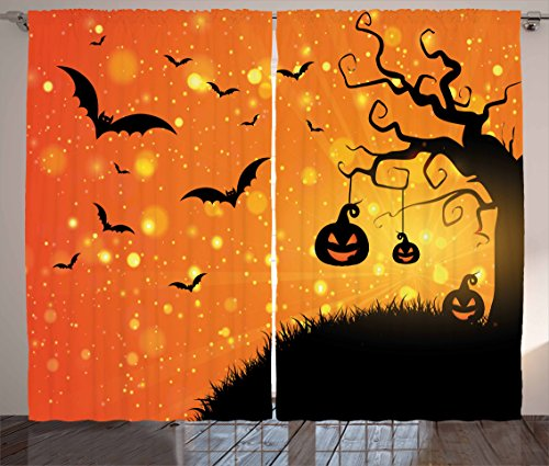 Halloween Curtains by Ambesonne, Magical Fantastic Evil Night Icons Swirled Branches Haunted Forest Hill, Living Room Bedroom Window Drapes 2 Panel Set, 108 W X 108 L Inches, Orange Yellow Black