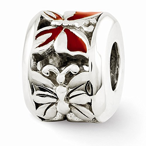 Red Enameled Butterfly Charm - 6