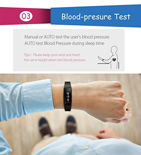 Arvin Blood Pressure Watch, Heart Rate Watch Smart Watch Sports Bracelet Wristband Activity Tracker Fitness Bracelet Cardio Watch with Pedometer Sleep Monitor for iPhone iOS Android