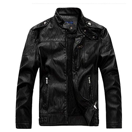 Moto Leather Black Synthetic Fashion Cool Collar Mens Coats Rider Jackets Zhuhaitf Stand UwH8I