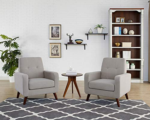 Funkeen Upholstered Accent Chair Modern Comfy Arm Chair Set of 2 Linen Fabric Single Sofa Chair Living Room Furniture Grey