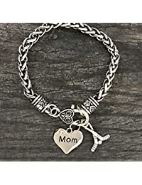 Hockey Mom Charm Bracelet, Ice Hockey Mom Jewelry, for...