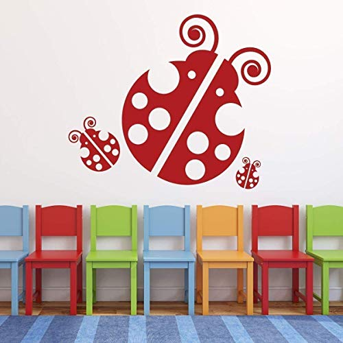 BYRON HOYLE Ladybug Wall Decals - Personalized Vinyl Stickers for Decorating Baby Nursery, Kids Playroom, Preschool, Daycare Center ()
