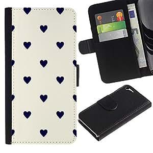 Planetar® Modelo colorido cuero carpeta tirón caso cubierta piel Holster Funda protección Para Apple iPhone 5 / iPhone 5S ( Polka Dot Black Beige White )