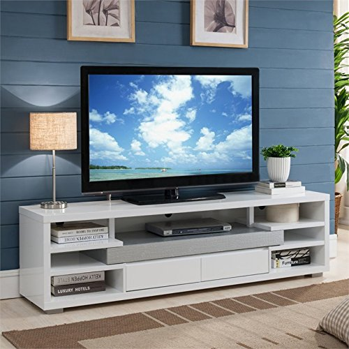 Furniture of America Avena Contemporary 70-inch TV Stand in White