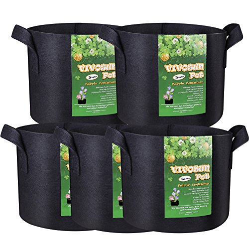 VIVOSUN 5-Pack 5 Gallon Grow Bags Heavy Duty 300G Thickened Nonwoven Plant Fabric Pots with (Smart Pot)