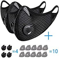2pcs Sports Cycling Filter Cover with Activated Carbon 10pcs Filter Men Women for Running Cycling Reusable Respirator...