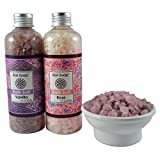 Rose & Vanilla Bath Salt Gift Set, Ideal for Sore Muscles, Detox, Relax & Stress Reliever, 2pc 9.7 Oz each, by Bali Soap