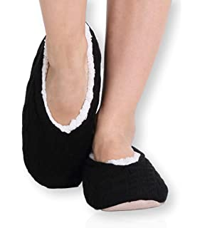 e768620aa51 Pembrook Ladies Cable Knit Slippers – Ballet Style Non-Skid - women girls
