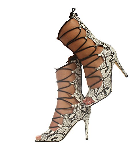 Heels HIGH Damen Fashion Damen Party Zip Lace Knöchel Schwarz CORE Up Toe COLLECTION Stiletto Weiß Schuhe PEEP TPxqn5OO