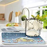 Blueangle Winter Holidays Snowman House Dish Drying Mat Easy Clean Dishwasher Safe Heat Resistant Eco-Friendly Countertop Mat, Large 18 inches X 24 inches