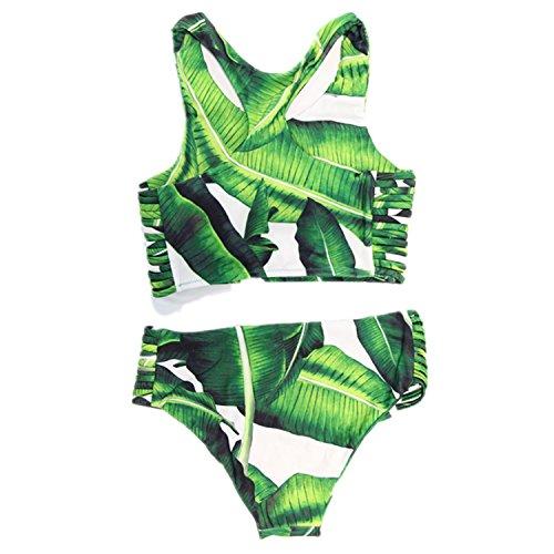 Tropical 10 Leaf - Womens Tropical Leaves Printing Tank Padding Bikini Set Green Swimsuits Swimwear