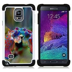 - fish cute love tropical coral diving sea/ H??brido 3in1 Deluxe Impreso duro Soft Alto Impacto caja de la armadura Defender - SHIMIN CAO - For Samsung Galaxy Note 4 SM-N910 N910