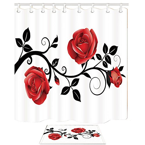 NYMB Flower Shower Curtain, Concise Style Red Rose Black Branch White Background, 69X70in Shower Curtain Set with 15.7x23.6in Flannel Non-Slip Floor Doormat Bath Rugs ()