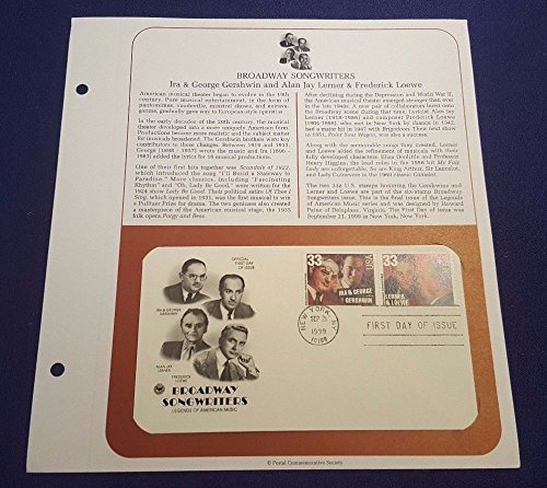 PCS Sep 21st 1999 IRA & GEORGE GERSHWIN ALAN LERNER LOEWE First Day Issue Cover