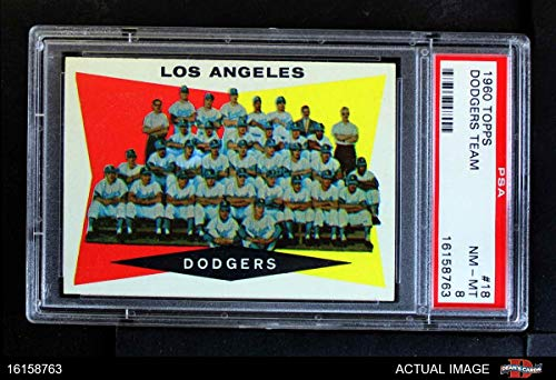 1960 Topps # 18 Dodgers Team Checklist Los Angeles Dodgers (Baseball Card) PSA 8 - NM/MT - Checklist 1960 Topps