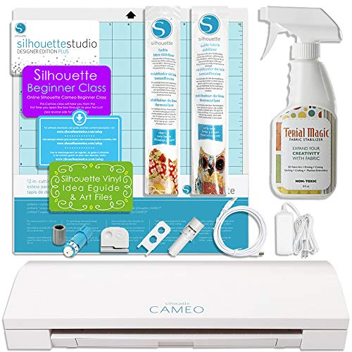 Silhouette CAMEO 3 Bluetooth Fabric Applique Bundle for Embroidery Machines Includes $59.99 Designer Plus Software and Terial Magic from Silhouette