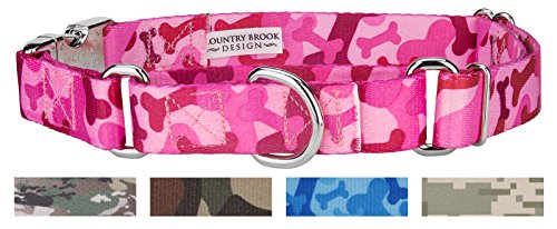 Bone Adjustable Dog Collar (Country Brook Design Pink Bone Camo Martingale with Premium Buckle - Large)