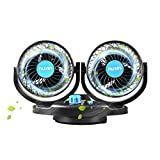 12V DC Electric Car Fans - 5Inch 360°Auto Rotatable 2 Speed Dual Blade with 6FT Cord - Quiet Strong Dashboard Cooling Fan for Sedan SUV RV Boat Auto Vehicles