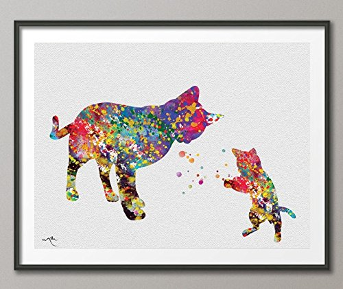 CAT and Baby Cat Kitty Watercolor illustrations Art Print Animal Love