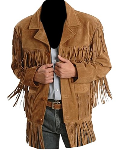 Classyak Men's Fashion Stylish Suede Leather Fringed Jacket Brown Small ()