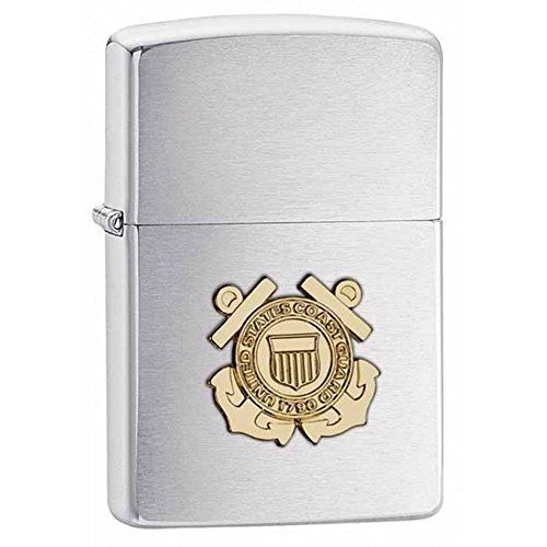 Personalized Coast Guard - Coast Guard Brushed Chrome Zippo Outdoor Indoor Windproof Lighter Free Custom Personalized Engraved Message Permanent Lifetime Engraving on Backside