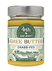 Original Grass-Fed Ghee Butter by 4th & Heart, 9 Ounce, Pasture Raised, Non-GMO, Lactose Free, Certified Paleo