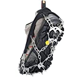 Walk Traction Ice Cleat Spikes Crampons Stainless Steel Chain, Universal Flexible Anti-Slip Ice Grips Climbing Hiking